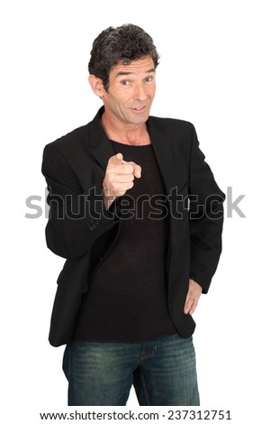 Handsome man doing different expressions in different sets of clothes: pointing - stock photo