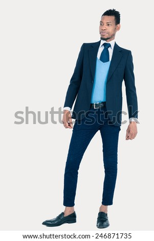 Handsome man doing different expressions in different sets of clothes: posing - stock photo