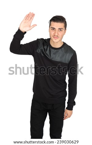 Handsome man doing different expressions in different sets of clothes: waving - stock photo