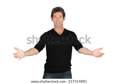 Handsome man doing different expressions in different sets of clothes: welcome - stock photo
