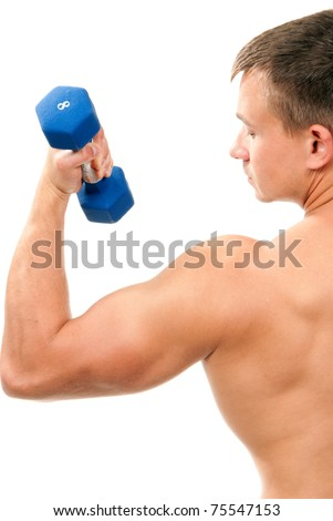 Handsome man holding blue dumbbells in hand and working out, showing muscular arms, biceps isolated on a white background - stock photo
