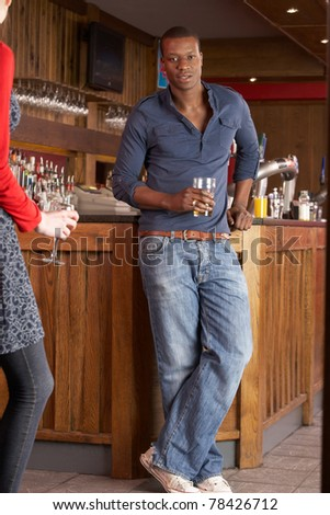Handsome man in bar