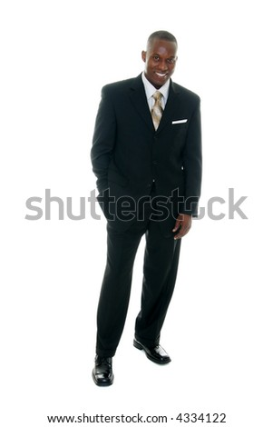 Handsome man in black business suit.