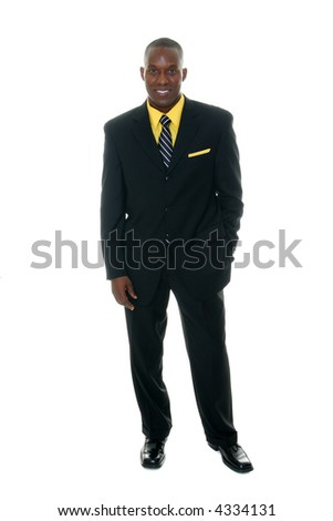 Handsome man in black business suit. - stock photo