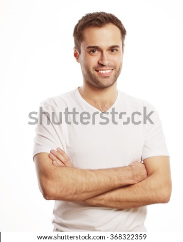 handsome man in blank white shirt