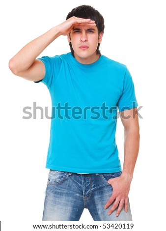 handsome man in blue t-shirt is scrutinizing. isolated on white background - stock photo