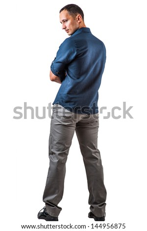 Handsome man in casual blue shirt on white background - stock photo