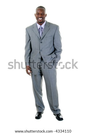 Handsome man in gray business suit. - stock photo
