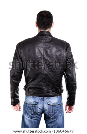 Handsome man in leather jacket, rear view on back. Isolated on white - stock photo