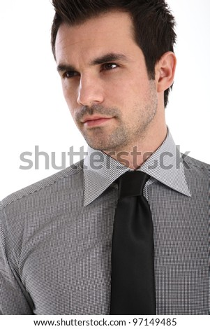 Handsome man in shirt and tie - stock photo