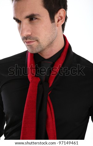 Handsome man in shirt and tie red and black - stock photo