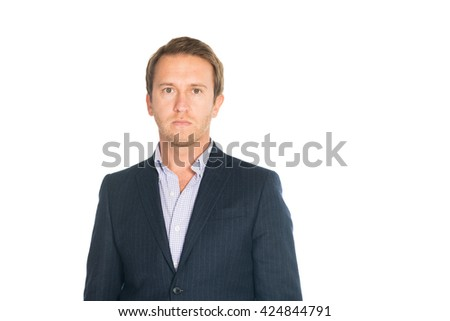 handsome man in suit looks seriously isolated