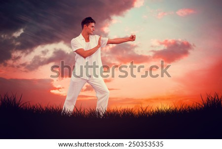 Handsome man in white doing tai chi against red sky over grass - stock photo