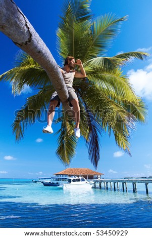 Handsome man is sitting on a palm tree - stock photo