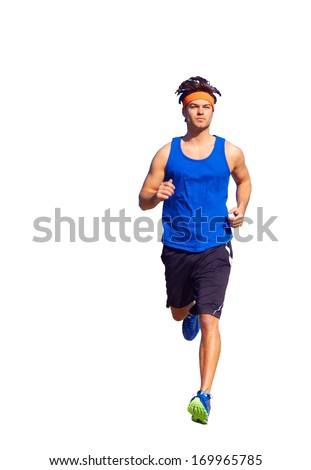 Handsome man jogging on nature trail near forest preserve. Color image, copy space, male jogger running outside on a beautiful day in nature.Vertical, isolated on white, white background. - stock photo