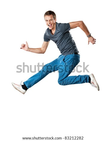 Handsome man jumping. - stock photo