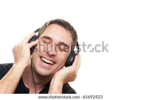 handsome man listening the music - stock photo
