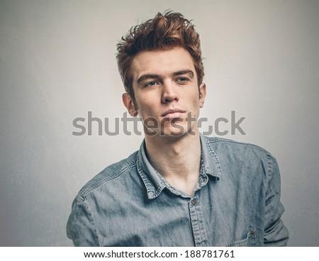 Handsome man looking away - stock photo