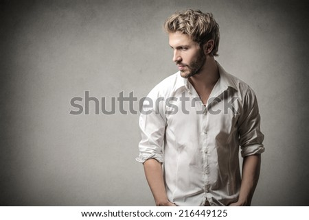 Handsome man looking away  - stock photo