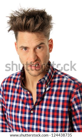 Handsome man making a funny expression - stock photo