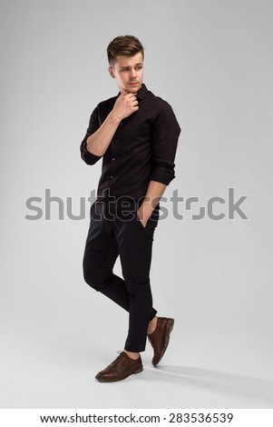 Handsome Man On White Background - stock photo