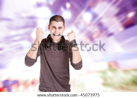 Handsome man over abstract music modern design background - stock photo