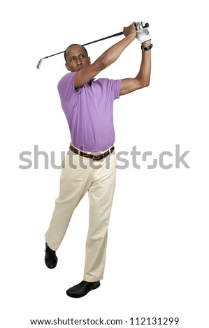 Handsome man playing a round of the sport known as golf - stock photo