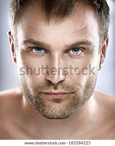 Handsome Man Portrait. Face. Guy close up - stock photo