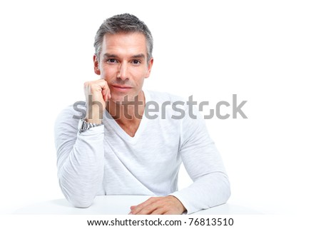 Handsome man portrait. Isolated over white background