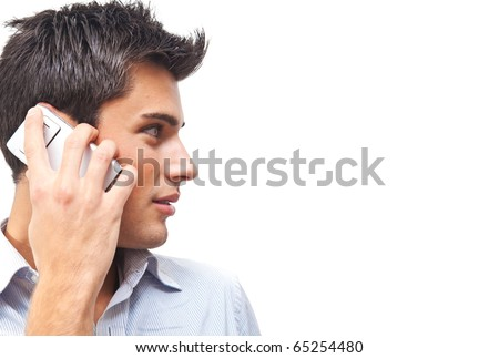 Handsome man portrait talking at the cell phone isolated on white background - stock photo