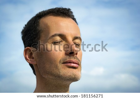 handsome man relax - stock photo