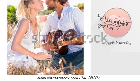 Handsome man serenading his girlfriend with guitar against love birds - stock photo