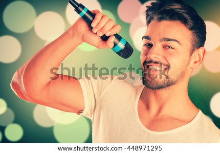 handsome man singing isolated in white background
