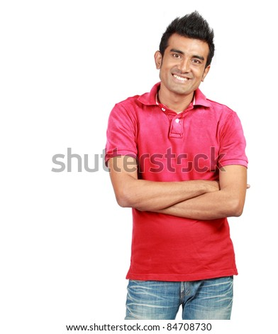 Handsome man smiling at the camera. isolated over white background - stock photo
