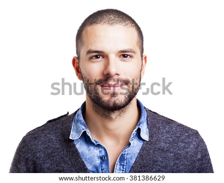 Handsome man smiling, isolated on white background - stock photo