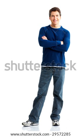 Handsome man smiling. Isolated over white background - stock photo