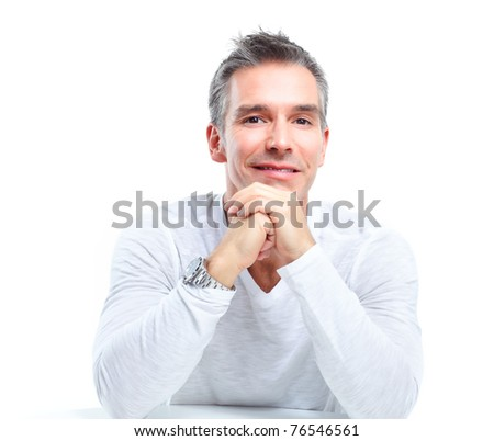 Handsome man smiling. Isolated over white background