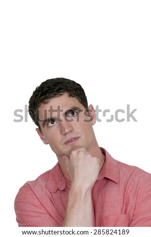 Handsome man thinking thoughts with his brain - stock photo