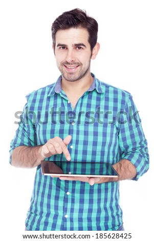 Handsome man using a tablet computer, isolated over a white background