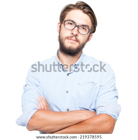 handsome man wearing glasses, studio shot, isolated - stock photo