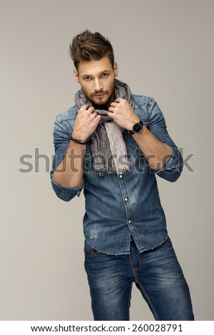 Handsome man wearing jeans - stock photo