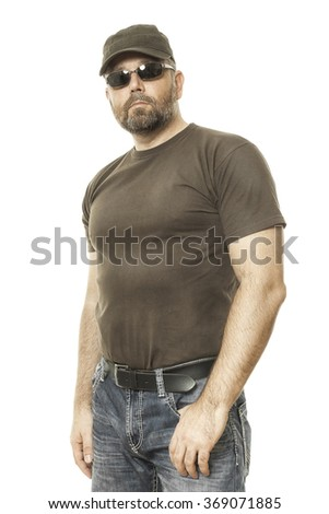 handsome man with a beard and sunglasses - stock photo
