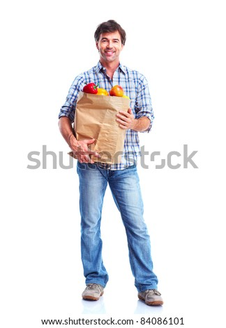 Handsome man with bag. Isolated over white background.