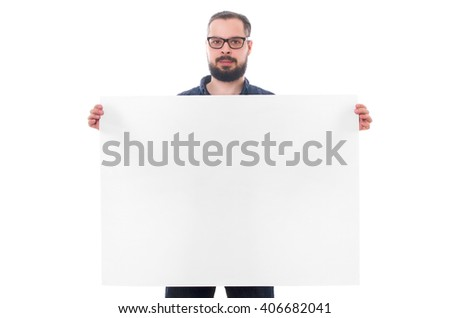 handsome man with beard holding a wooden blank in hands isolated on white background - stock photo