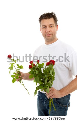 Handsome man with bouquet of roses  isolated on white background