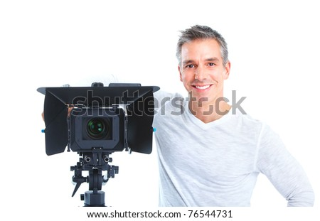 Handsome man with camcorder. Isolated over white background - stock photo