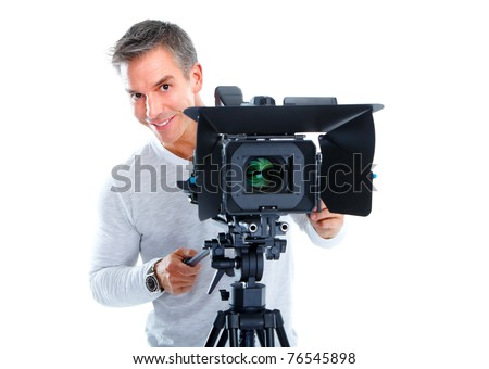 Handsome man with camcorder support. Isolated over white background - stock photo