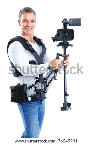 Handsome man with camera system support. Isolated over white background - stock photo