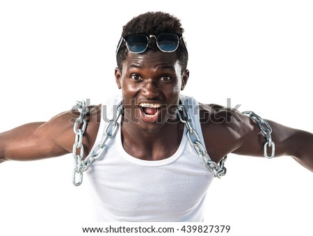 Handsome man with chains