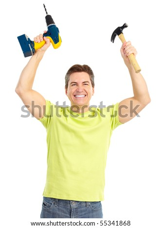 Handsome man with cordless drill and hammer.  Isolated over white background - stock photo